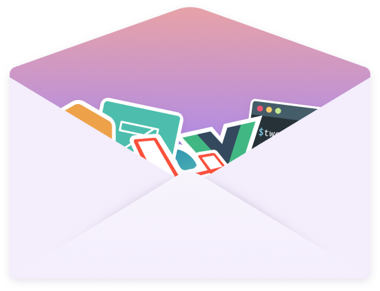 An envelope with Laravel stickers inside